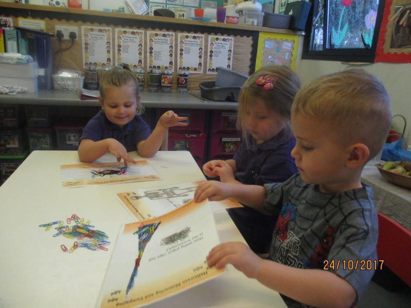 Children at the halloween pre-school maths activity